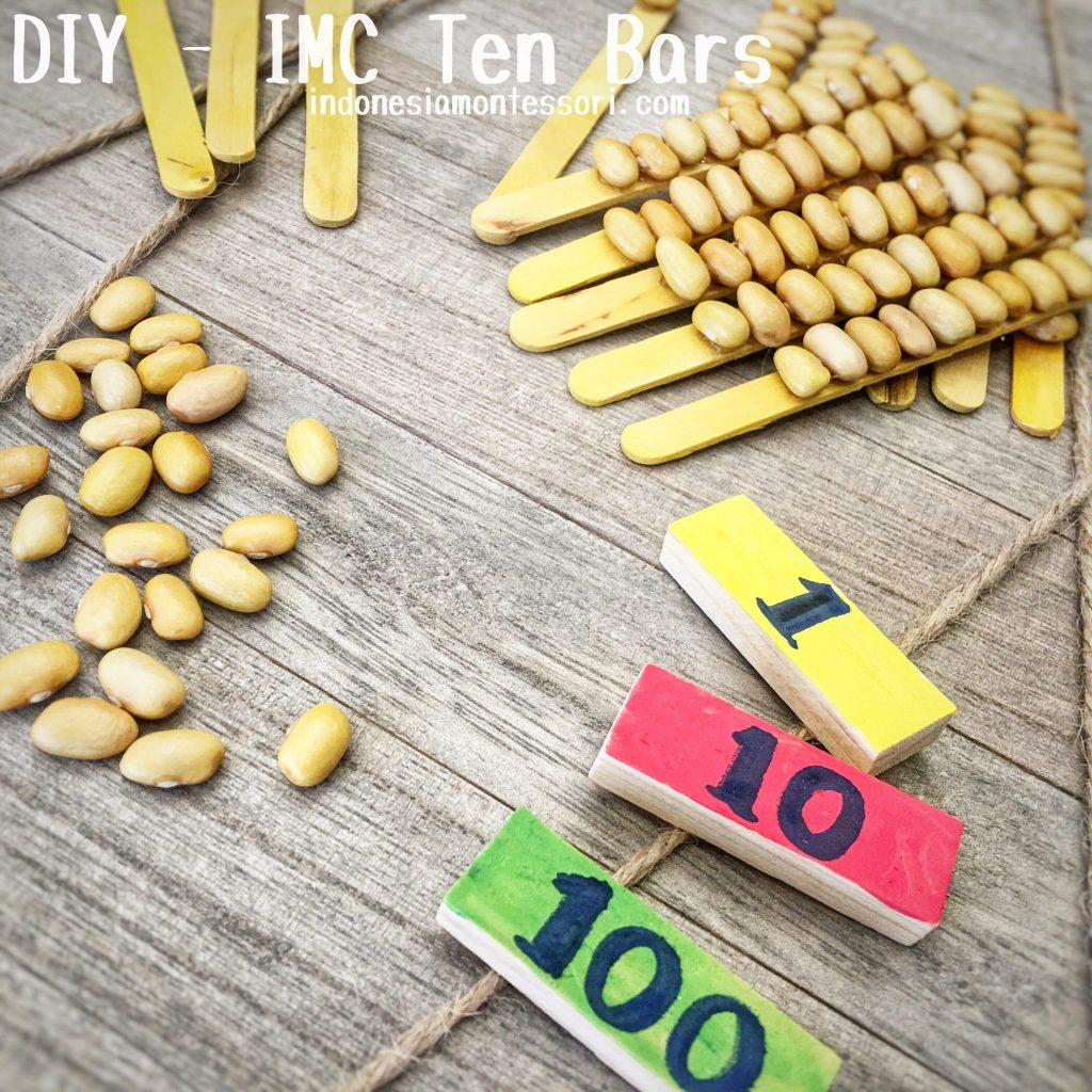 DIY Montessori inspired ten bars golden square