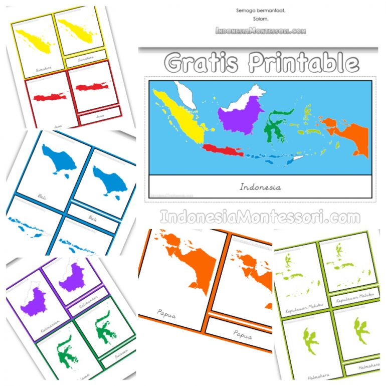 photo regarding Printable Image titled Printable Gratis Nomenklatur Montessori Pulau Indonesia