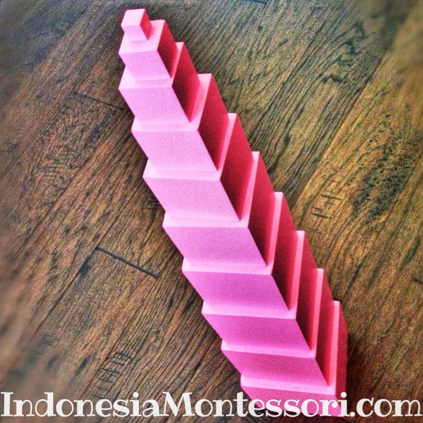 cara main pink tower indonesia montessori