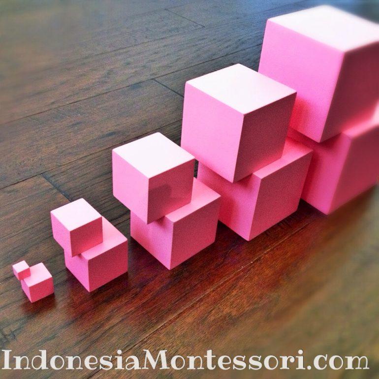 jual menara merah muda montessori pink tower