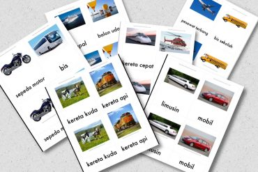 kartu kendaraan alat transportasi bahasa indonesia printable gratis