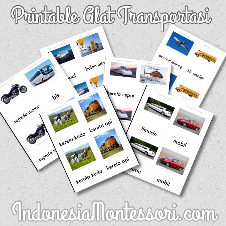 kartu kendaraan alat transportasi bahasa indonesia printable gratis